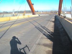 The Sauvie Island bridge on my sunny, MLK Jr. Day ride. St. Helens within view, bike between my legs. Lovely!